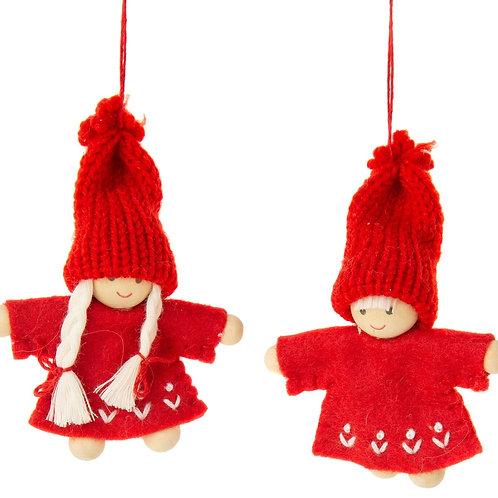 Red Felt Scandi Child Ornament