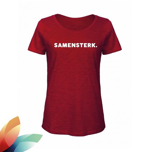 VROUW: T-shirt SAMENSTERK.