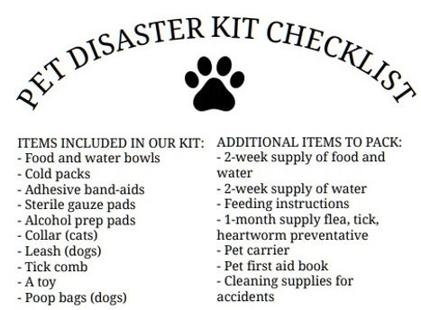 Pet Disaster Kit Checklist without black
