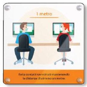 Pannello Informativo PVC (distanza ufficio) 49x49 cm spessore 0,5