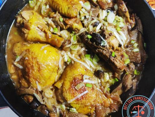 Pollo alle mandorle con funghi cardoncelli e salsa di soia