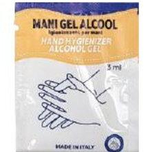 Gel Mani Alcool in bustina Monodose dal 3 ml cm 6x8,100 pezzi