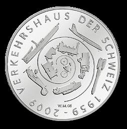 20 Franken Gedenkmünze 2009 Verkehrshaus der Schweiz Silber