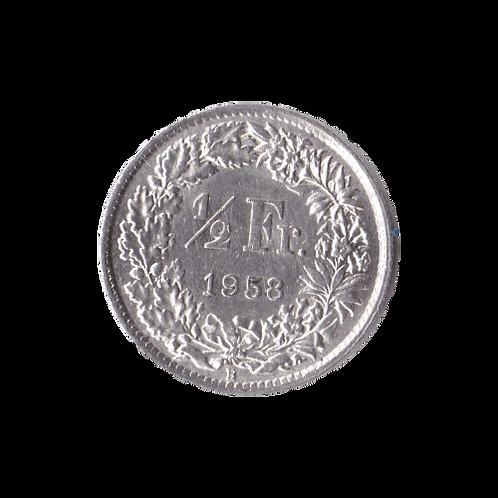 50 Rappen 1958 Schweiz Silber Silbermünze