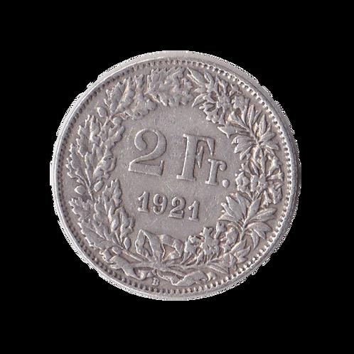 2 Franken 1921 Schweiz Silber Silbermünze