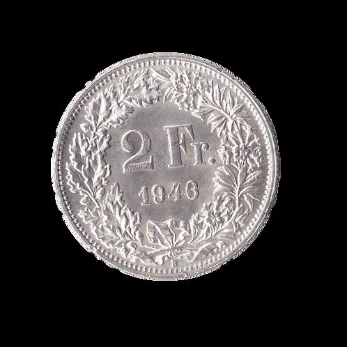 2 Franken 1946 Schweiz Silber Silbermünze