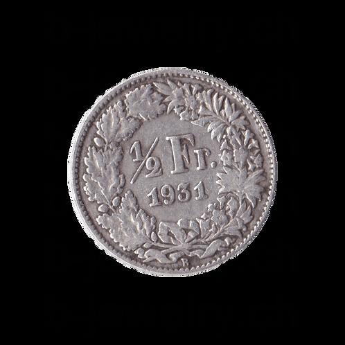 50 Rappen 1931 Schweiz Silber Silbermünze