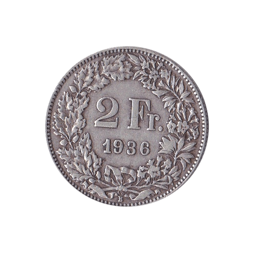 2 Franken 1936 Schweiz Silber Silbermünze