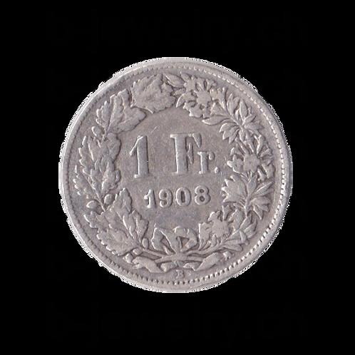 1 Franken 1908 Schweiz Silber Silbermünze