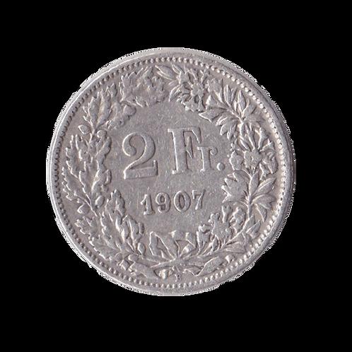 2 Franken 1907 Schweiz Silber Silbermünze