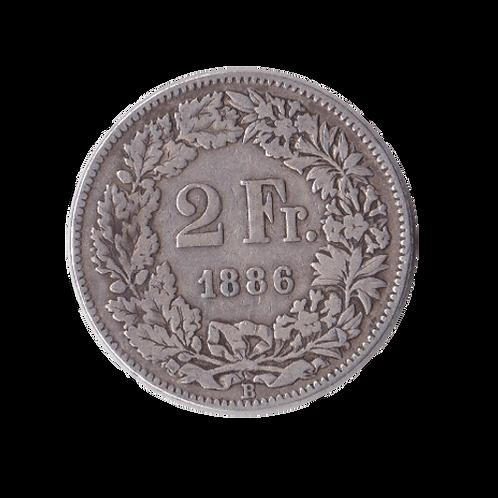 2 Franken 1886 Schweiz Silber Silbermünze