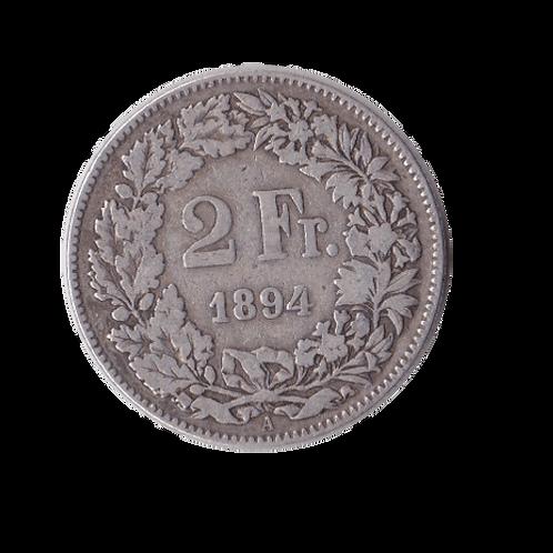 2 Franken 1894 A Schweiz Silber Silbermünze