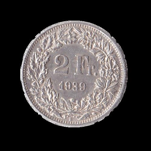 2 Franken 1939 Schweiz Silber Silbermünze