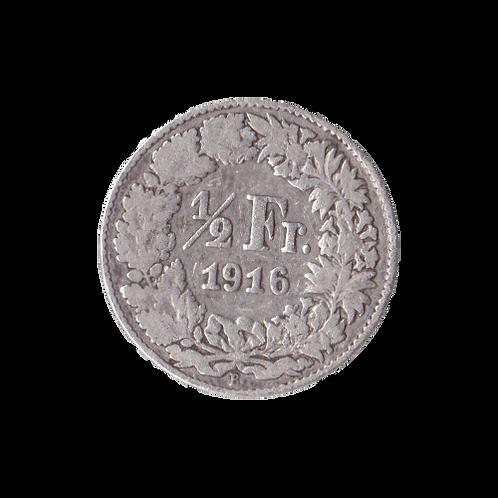 50 Rappen 1916 Schweiz Silber Silbermünze