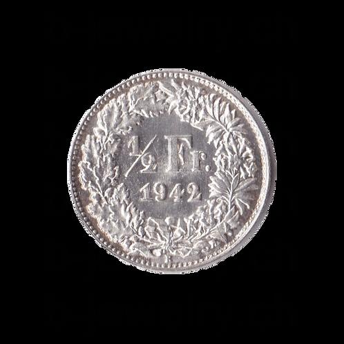 50 Rappen 1942 Schweiz Silber Silbermünze