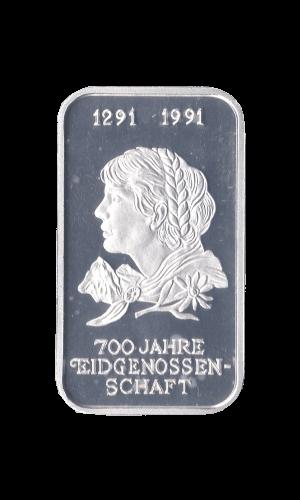 1 oz 700 Jahre Eidgenossenschaft Silberbarren Frauenkopf Unze 1991