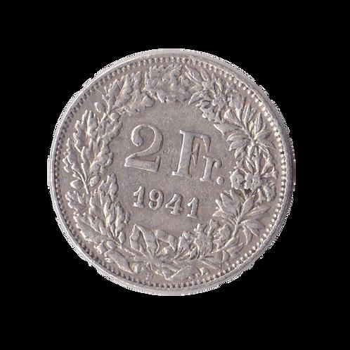 2 Franken 1941 Schweiz Silber Silbermünze