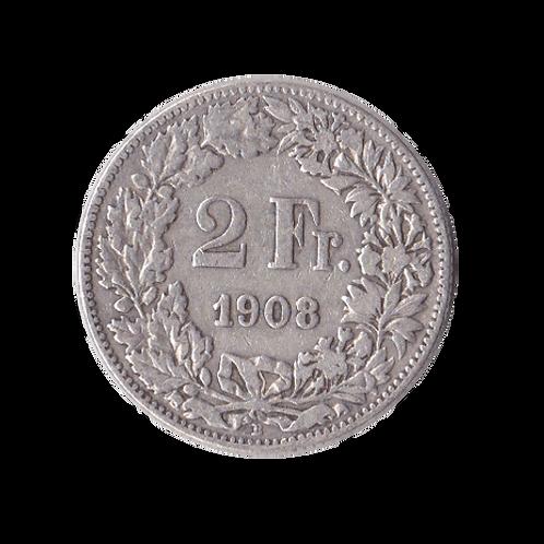 2 Franken 1908 Schweiz Silber Silbermünze