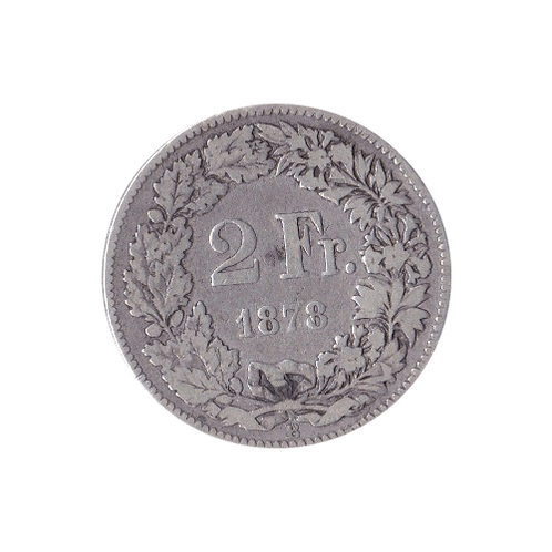 2 Swiss Francs silver 1878
