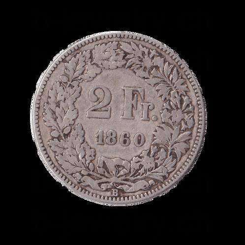 2 Franken 1860 Schweiz Silber Silbermünze