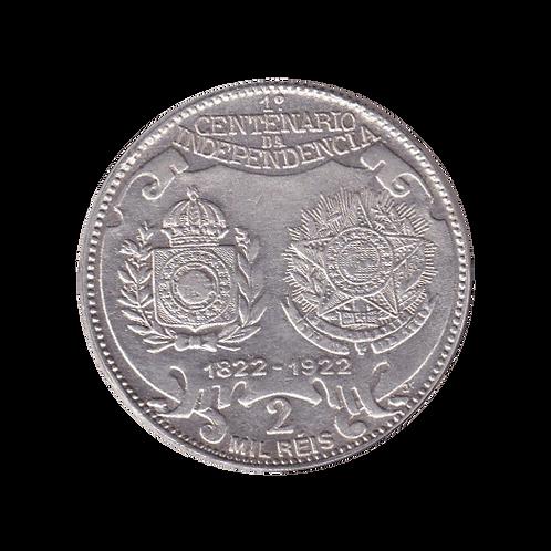 2 Mil Reis Brasilien Gedenkmünze Silber 1822 - 1922