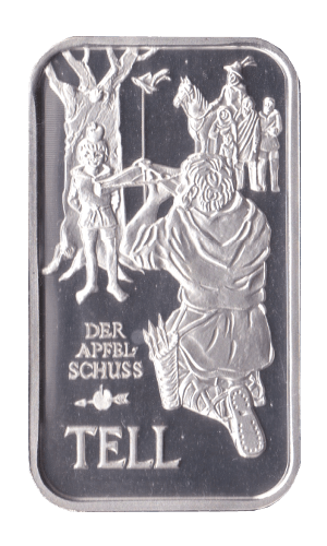 1 oz 700 Jahre Eidgenossenschaft Silberbarren Der Apfelschuss Tell Unze 1991