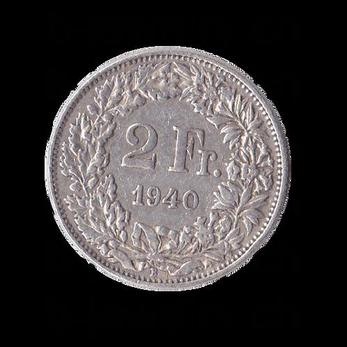 2 Franken 1940 Schweiz Silber Silbermünze