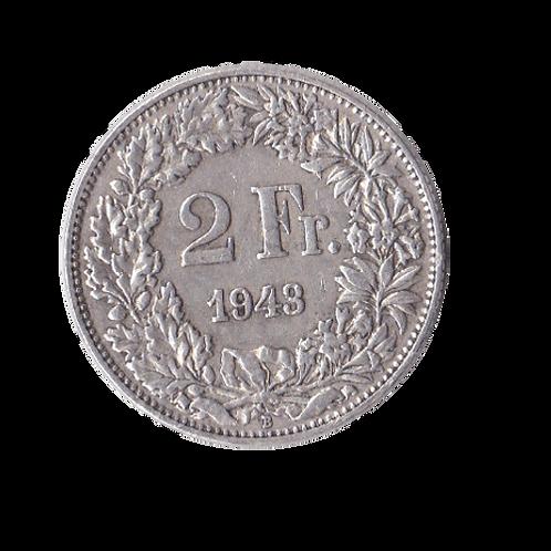 2 Franken 1943 Schweiz Silber Silbermünze