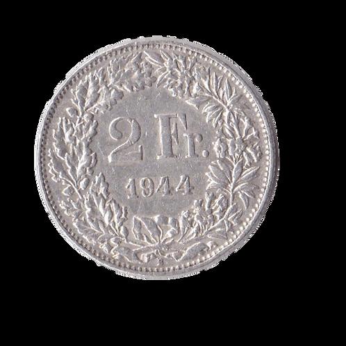 2 Franken 1944 Schweiz Silber Silbermünze