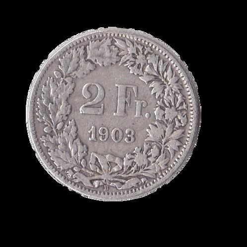 2 Franken 1903 Schweiz Silber Silbermünze