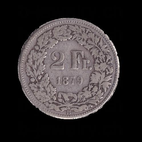 2 Franken 1879 Schweiz Silber Silbermünze