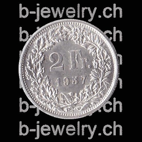 2 Franken 1957 Schweiz Silber Silbermünze