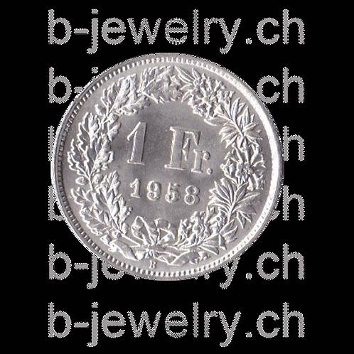 1 Franken 1958 Schweiz Silber Silbermünze