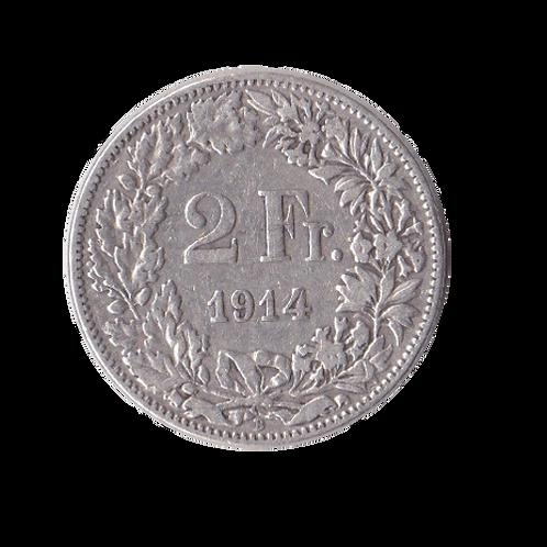 2 Franken 1914 Schweiz Silber Silbermünze