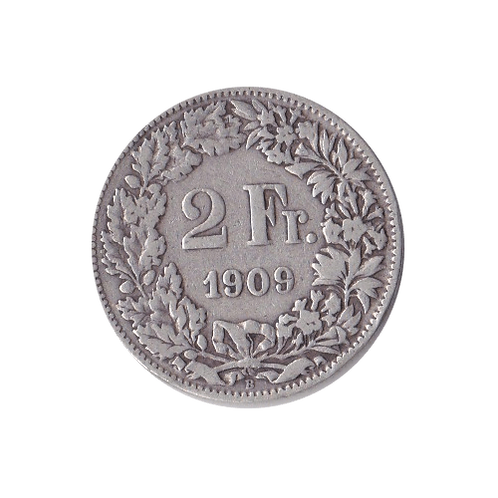 2 Franken 1909 Schweiz Silber Silbermünze