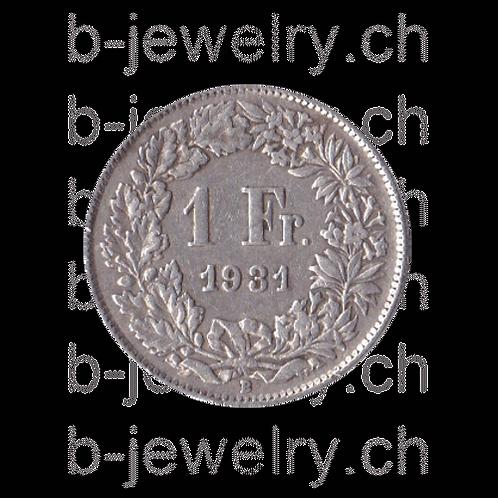 1 Franken 1931 Schweiz Silber Silbermünze