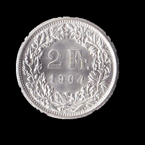 2 Franken 1964 Schweiz Silber Silbermünze