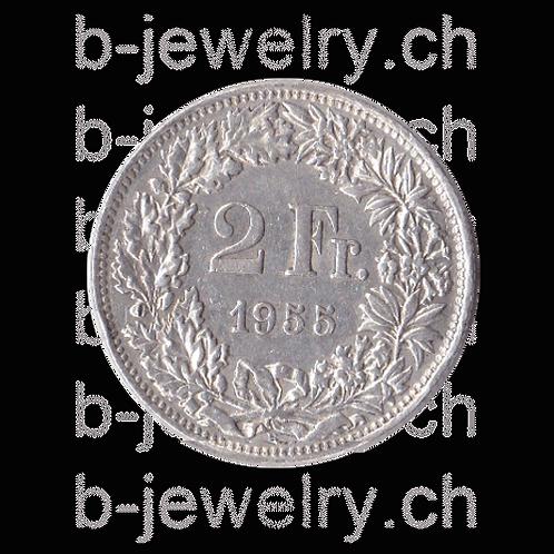 2 Franken 1955 Schweiz Silber Silbermünze