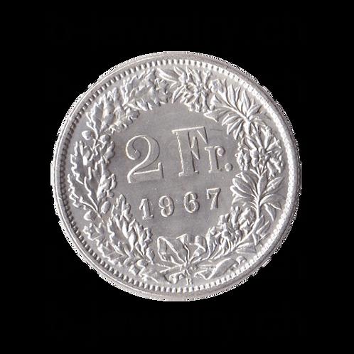 2 Franken 1967 Schweiz Silber Silbermünze