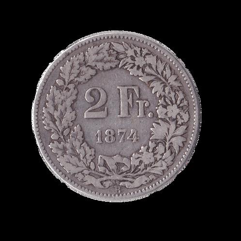 2 Franken 1874 Schweiz Silber Silbermünze