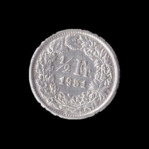 50 Rappen 1951 Schweiz Silber Silbermünze