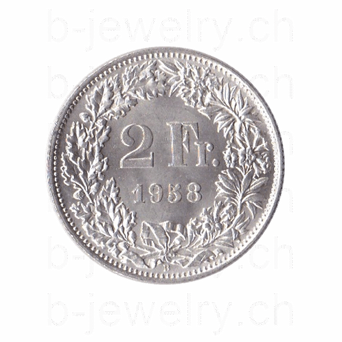 2 Franken 1958 Schweiz Silber Silbermünze