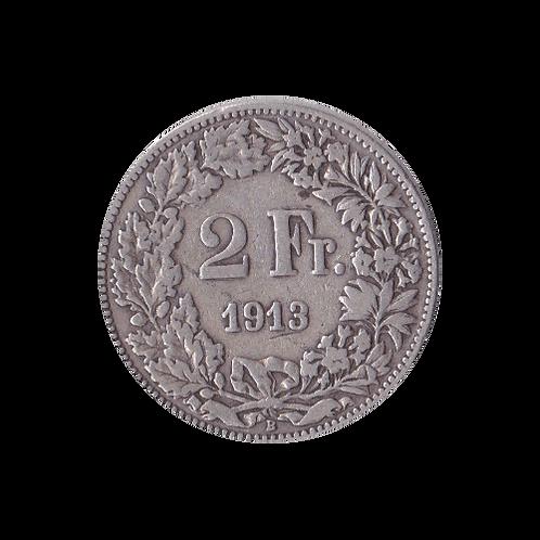 2 Franken 1913 Schweiz Silber Silbermünze