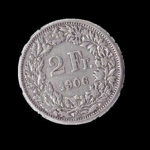2 Franken 1906 Schweiz Silber Silbermünze