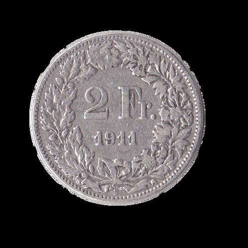 2 Franken 1911 Schweiz Silber Silbermünze