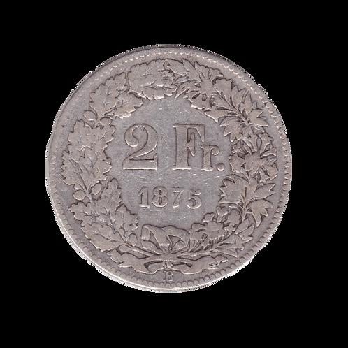 2 Franken 1875 Schweiz Silber Silbermünze