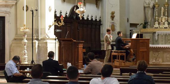 """Finale del concorso internazionale """"Fondazione Friuli"""" - Tricesimo. In giuria da sinistra: M° Ruggero Livieri, M° Olivier Latry, M° Tomaž Sevšek"""