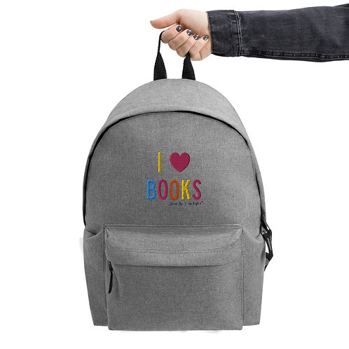 Limited Edition I Heart Books Embroidered Backpack