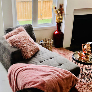 Cozy Chaise lounge by fireplace