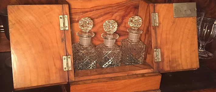 Hardwood Case and Glass Decanters